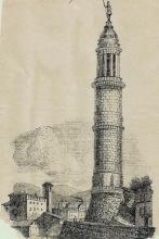 Un'antica stampa della Torre del Popolo